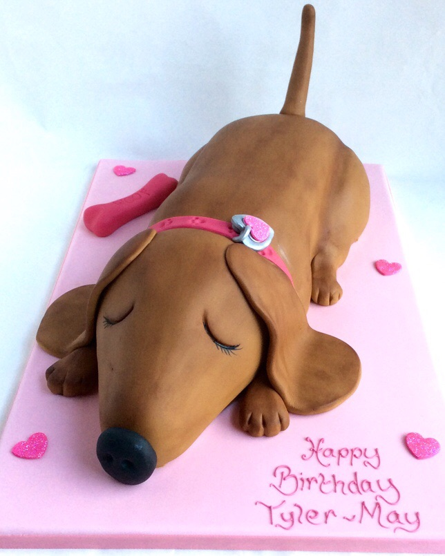 3 Layer Cake Icing: Sleepy Sausage Dog