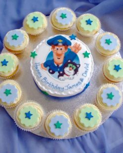 Round cake and cupcakes