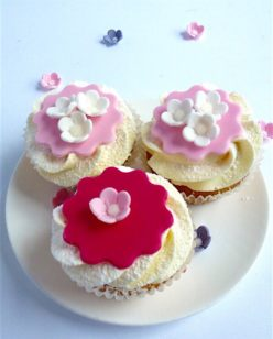 Pink and red flower cupcakes