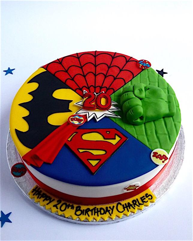 Super heroes mashup cake