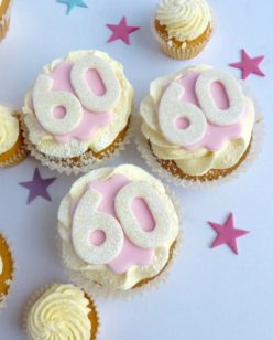 Glittered number cupcakes