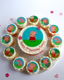 cake with cupcakes and peppa pig images