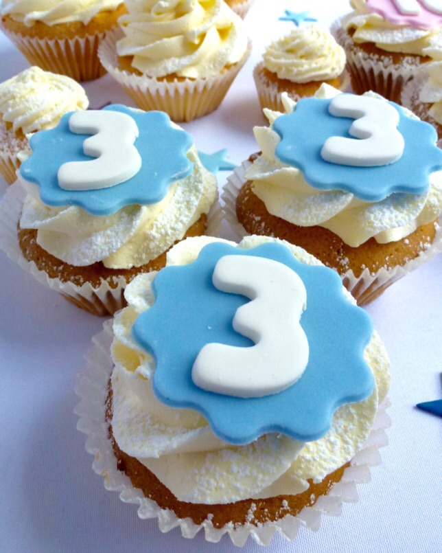 Number 3 cupcakes