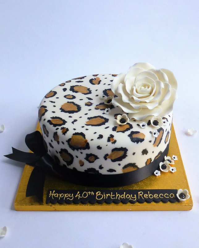 Incredible Hand Painted Leopard Print Cake Karens Cakes Funny Birthday Cards Online Fluifree Goldxyz