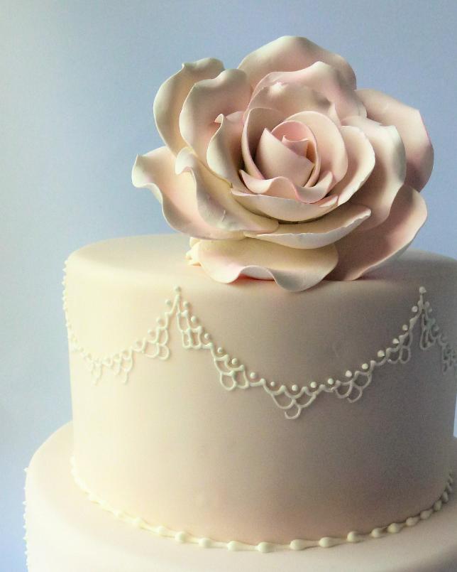 Pale pink rose cake topper