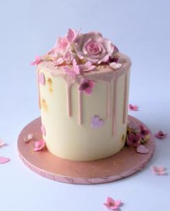 Pastel pink drip cake
