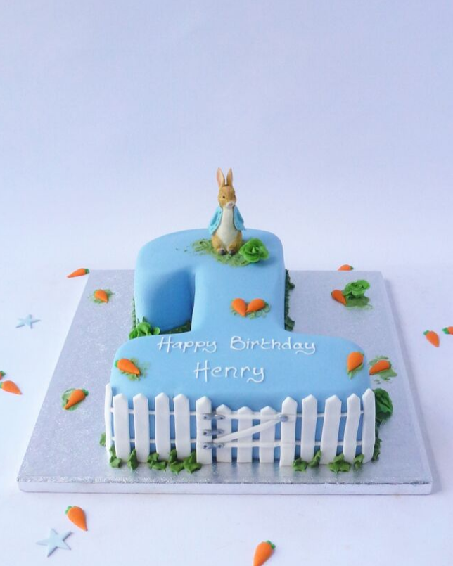 Peachy Peter Rabbit Single Number Karens Cakes Personalised Birthday Cards Epsylily Jamesorg