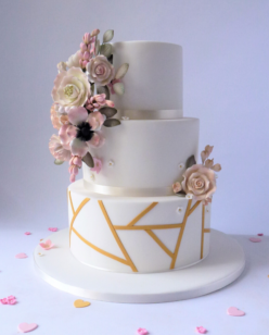 3 tier geometric wedding cake