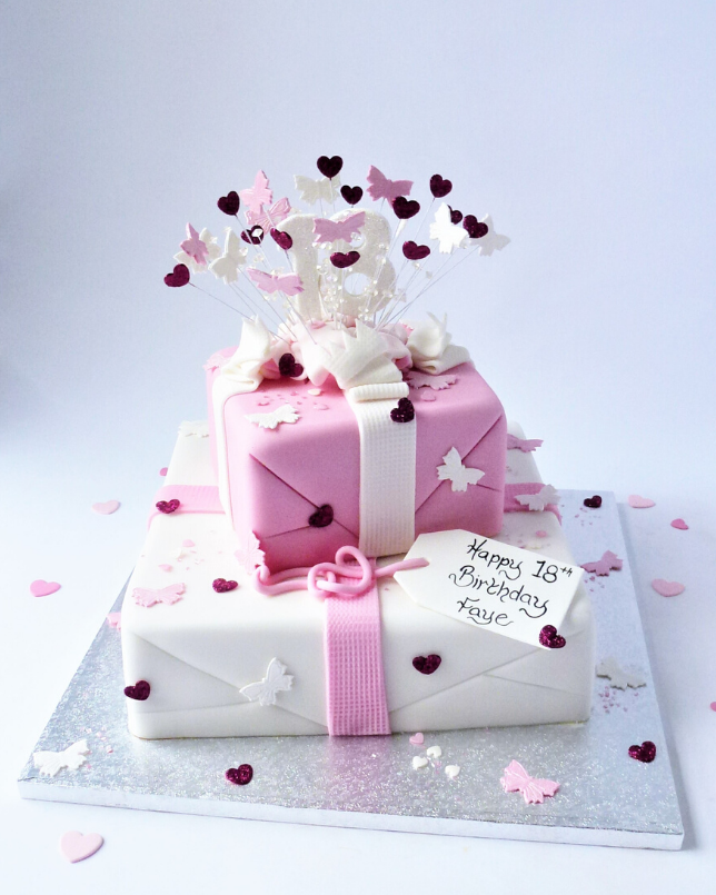 Enjoyable 2 Tier Exploding Parcel Butterflies And Hearts Karens Cakes Funny Birthday Cards Online Elaedamsfinfo