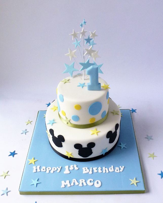 Brilliant 2 Tier Mickey Mouse Pastel Colours Karens Cakes Personalised Birthday Cards Veneteletsinfo