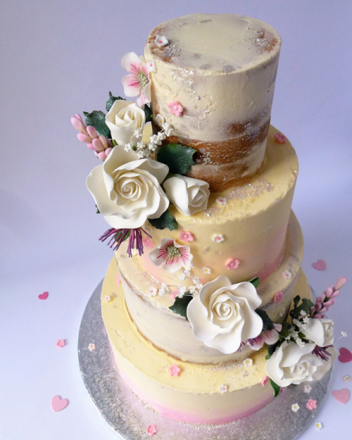 4 tier seminaked wedding cake