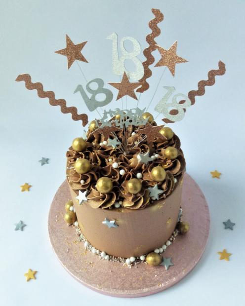 Rose gold cake topper