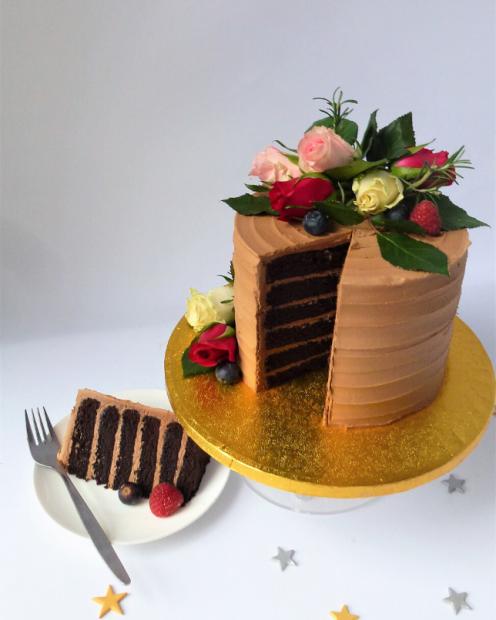 A slice of chocolate devil cake
