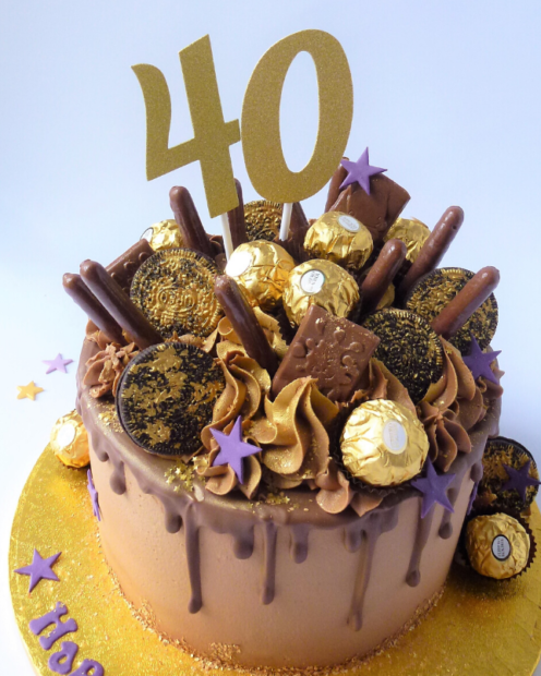 Chocolate drip cake with number topper