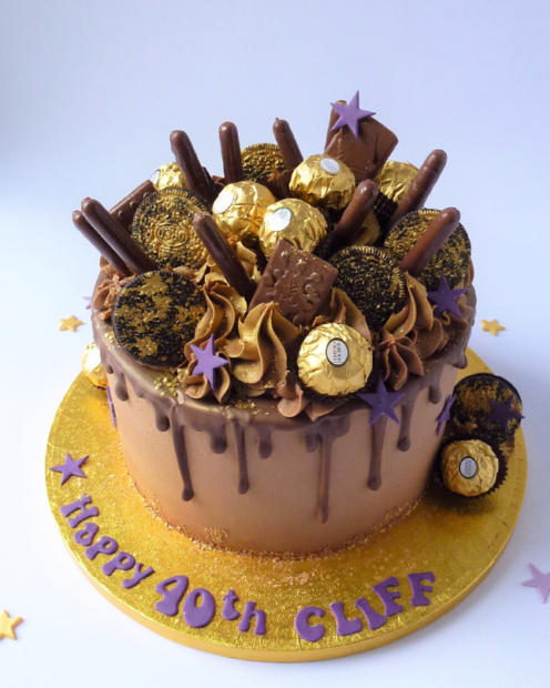 Chocolate drip cake with biscuits