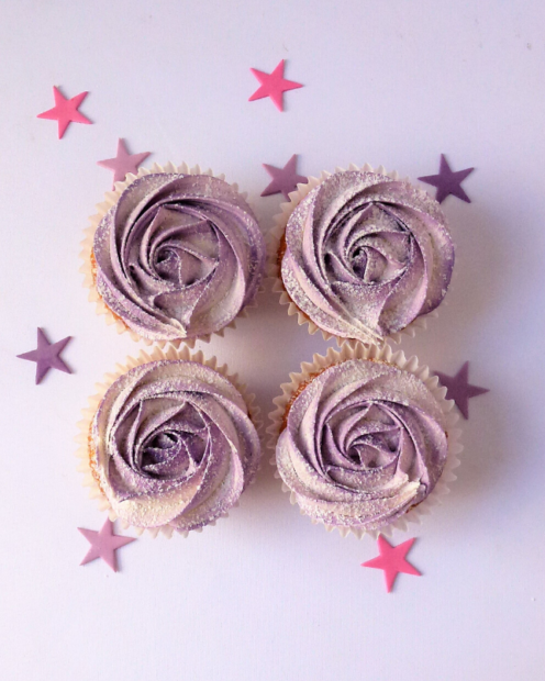 Lilac rose cupcakes