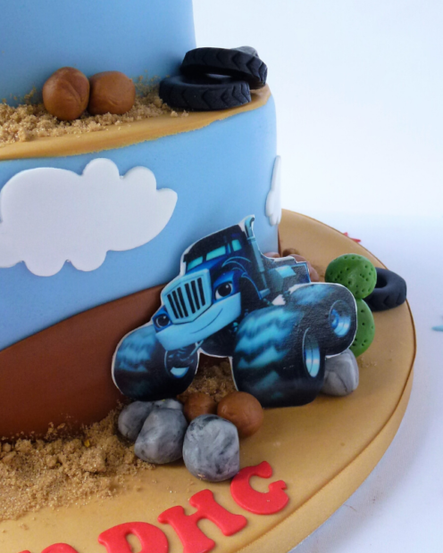 Monster truck on a birthday cake