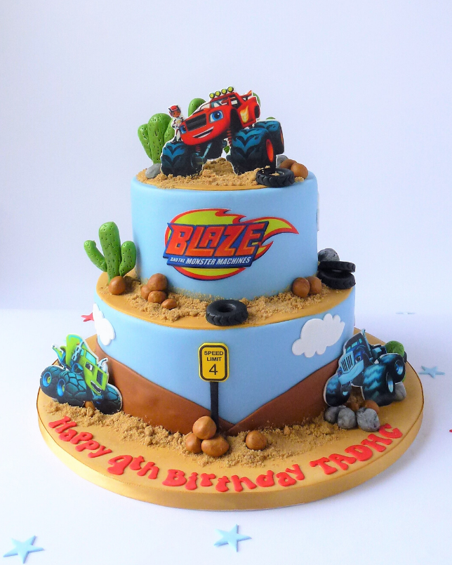 Pleasant 2 Tier Blaze And The Monster Machines Cake Karens Cakes Funny Birthday Cards Online Fluifree Goldxyz