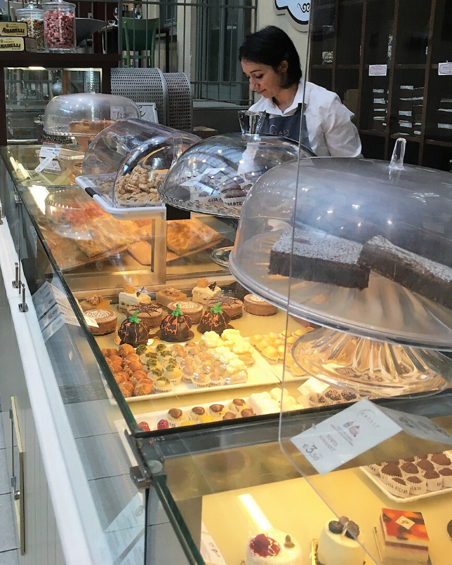 An Italian bakery. This photo was taken last year on a charity driving holiday around northern Italy. I stood there for ages just studying the beautiful display of cakes and pastries!