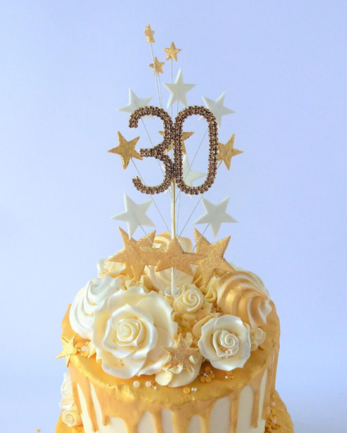 Gold 30 diamante cake topper