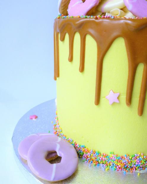 Biscoff drip birthday cake