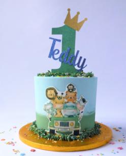 1ts birthday jungle theme cake