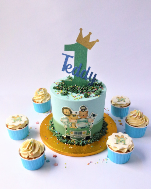 Big cake with matching cupcakes