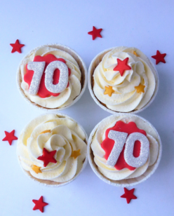 Cupcakes with icing numbers with red