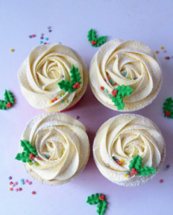 Edible holly cupcakes