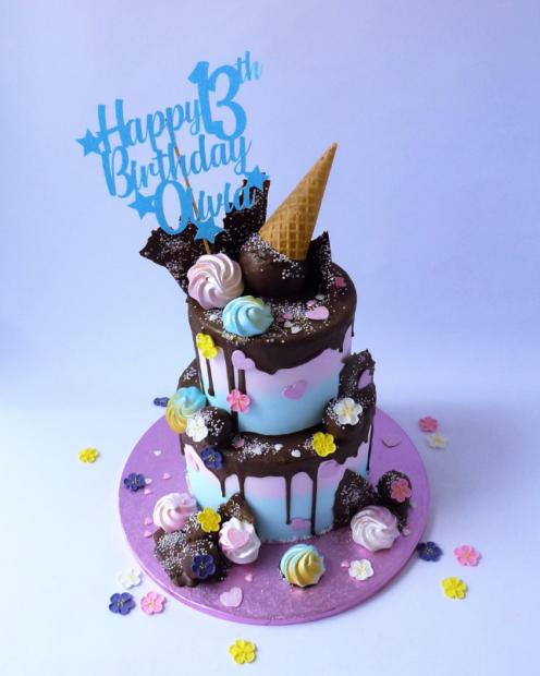 2 tier ice cream cone drip cake