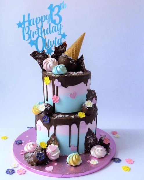 2tier ice cream cone drip birthday cake