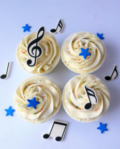 Cupcakes with musical notes and stars