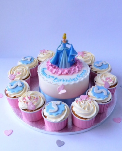 Cinderella birthday cake with cupcakes