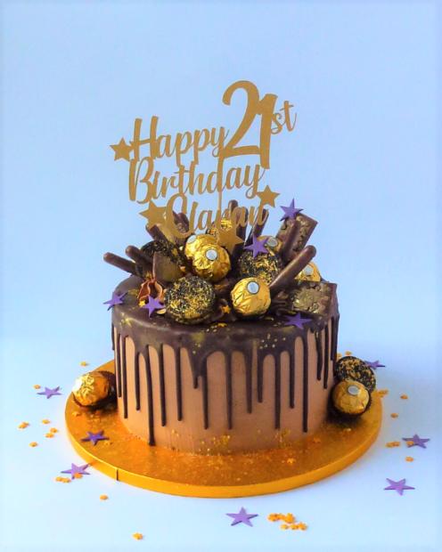 21st birthday chocolate drip cake