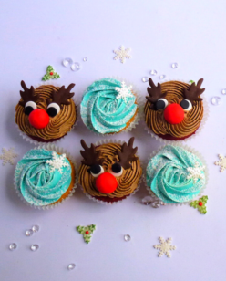 Cute Rudolph face and snow flake cupcakes