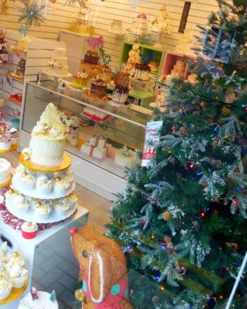 Christmas cake window display