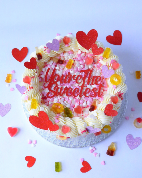 Valentines cake with sweets
