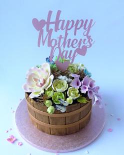 Mother's day flower tub novelty cake