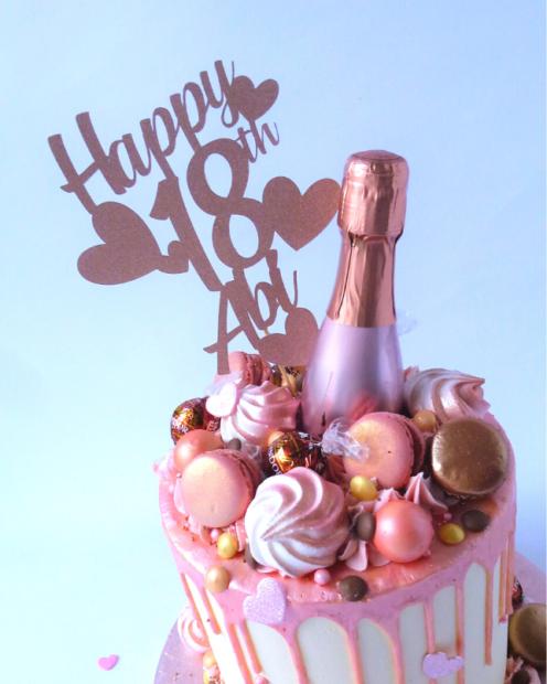 18th birthday cake in rose gold