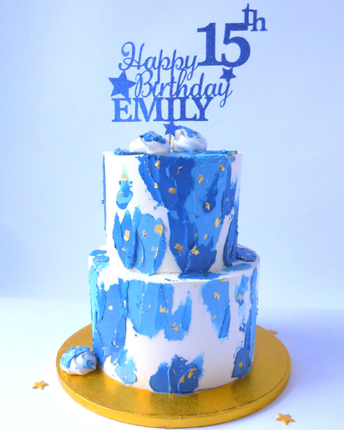 Double tier birthday cake blue and gold