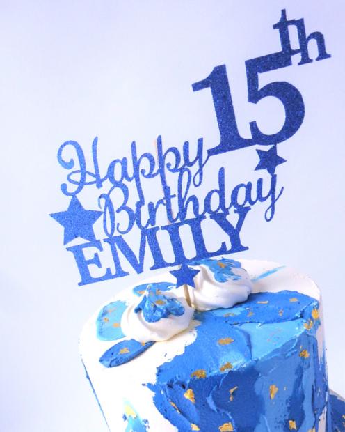 Birthday cake topper in blue
