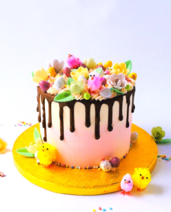 Easter cake with chick and chocolate drip