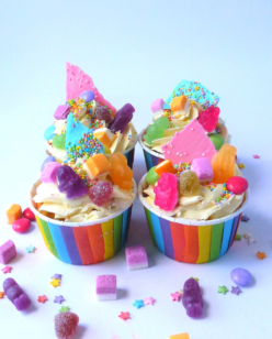 Sweet covered rainbow cupcakes