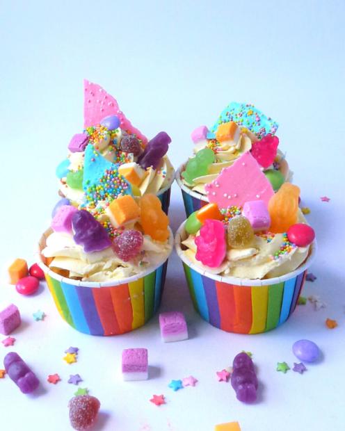 Sweet covered rainbow cupcakes