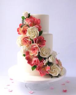 Sugar flower cascade on a wedding cake