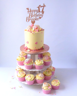 Tower of cupcakes and cake