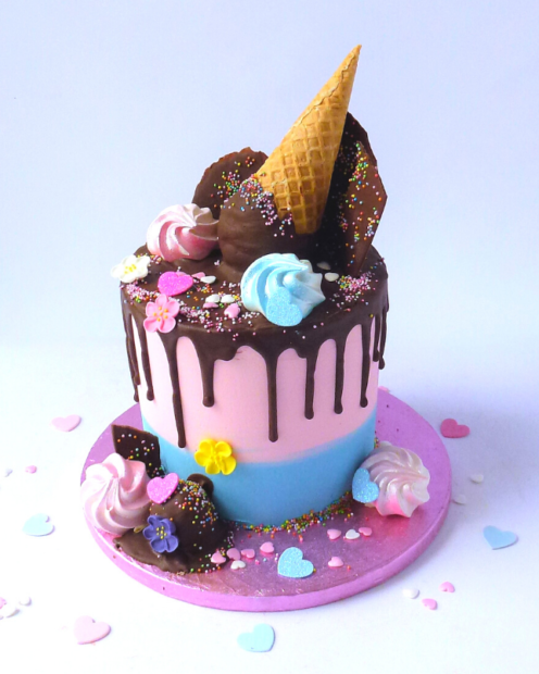 Pink and blue ice cream cone cake