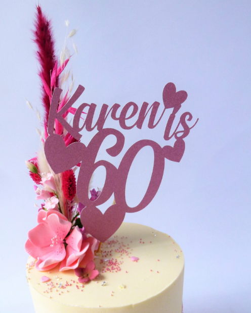 Cake topper in pink