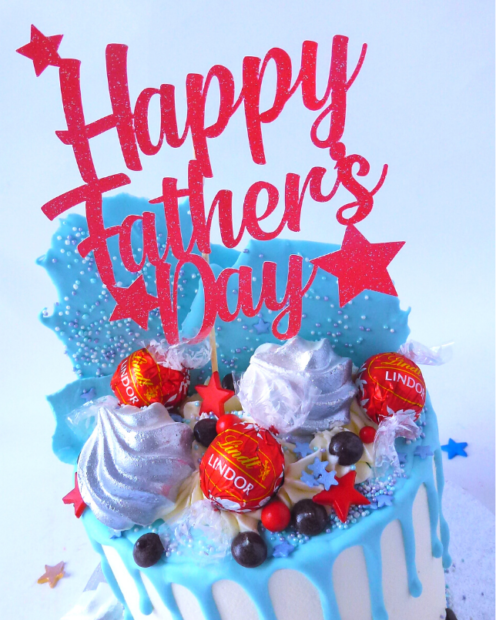 Red Fathers day cake topper