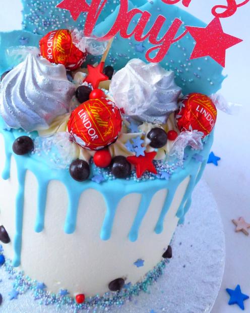 Blue drip cake